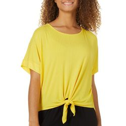 Its Our Time Juniors Tie Front Dolman Top