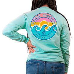 Juniors Long Sleeve Logo Wave T-Shirt