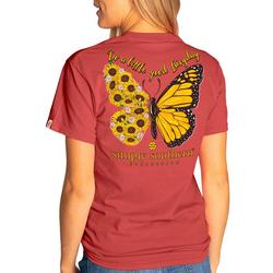 Juniors Butterfly Sunflower T-Shirt