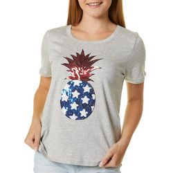 Messy Buns, Lazy Days Juniors Americana Pineapple T-Shirt