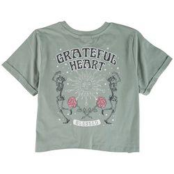 Messy Buns, Lazy Days Juniors Grateful Heart T-Shirt