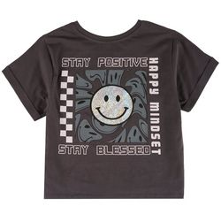 Messy Buns, Lazy Days Juniors Smiley Face Crop T-Shirt