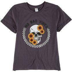 Messy Buns, Lazy Days Juniors No Bad Vibes T-Shirt