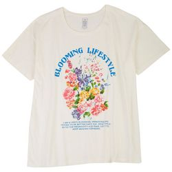 Messy Buns, Lazy Days Juniors Floral Printed Short Sleeve