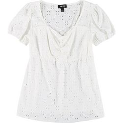 A. Byer Juniors Eyelet Solid Scrunch Front Top