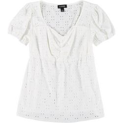Juniors Eyelet Solid Scrunch Front Top