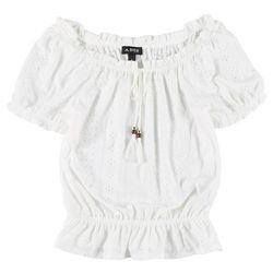 A. Byer Juniors Eyelet Solid Ruffle Top