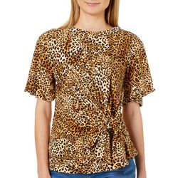 Thyme & Honey Womens Leopard Print Front Knot Top