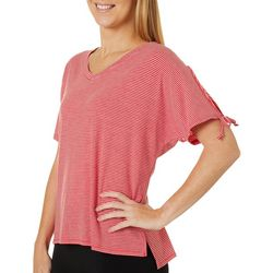Thyme & Honey Womens Striped Tie Short Sleeve V-Neck Top