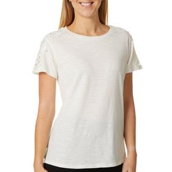 Thyme & Honey Womens Solid Lace Detail Short Sleeve Top