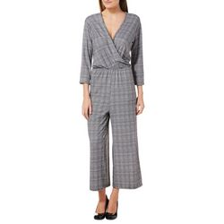 Thyme & Honey Womens Plaid Ankle Jumpsuit