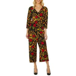 Thyme & Honey Womens Floral Scroll Ankle Jumpsuit