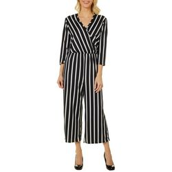 Thyme & Honey Womens Pin Striped Ankle Jumpsuit