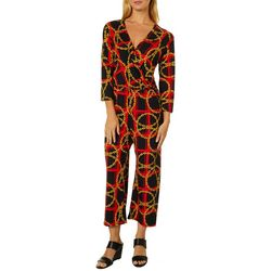 Thyme & Honey Womens Chain Plaid Print Ankle Jumpsuit