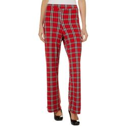 Thyme & Honey Womens Plaid Straight Leg Pull On Pants