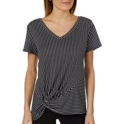 Thyme & Honey Womens Striped Side Knot Top
