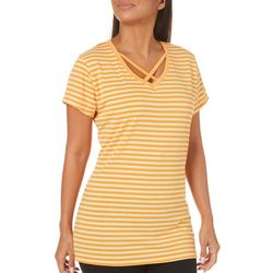 Thyme & Honey Womens Striped Crisscross Top
