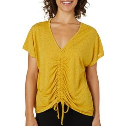 Thyme & Honey Womens Solid Speckled Ruched Front Top