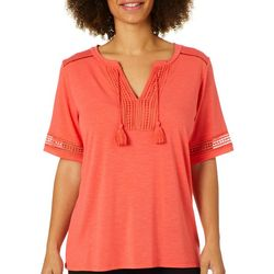 Thyme & Honey Womens Solid Crochet Embellished Tassel Top