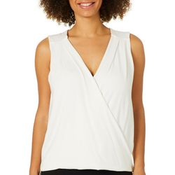 Thyme & Honey Womens Solid Front Criss Cross Sleeveless Top