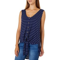 Thyme & Honey Womens Striped Tie Front Sleeveless Top