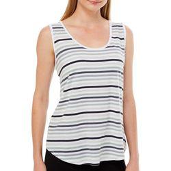 Thyme & Honey Womens Mono Toned Striped Sleeveless Top