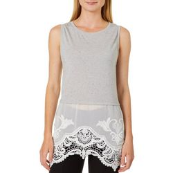 Thyme & Honey Womens Speckled Floral Lace Hem Sleeveless Top