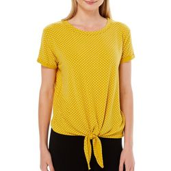 Thyme & Honey Womens Polka Dot Knot Front Top