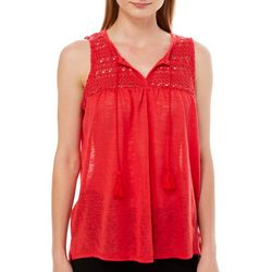 Thyme & Honey Womens Solid Crochet Tassel Sleeveless Top