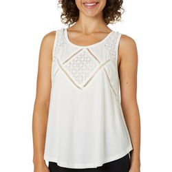 Thyme & Honey Womens Solid Lace Embellished Sleeveless Top