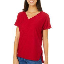 Thyme & Honey Womens V-Neck Dot Short Sleeve Top