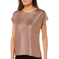 Thyme & Honey Womens Metallic Cap Sleeve Top