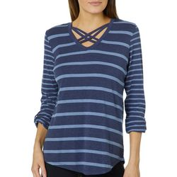 Thyme & Honey Womens Striped Crisscross Roll Tab Top
