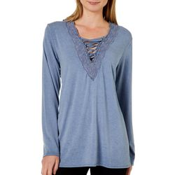 Thyme & Honey Womens Lace Trim Crisscross Top