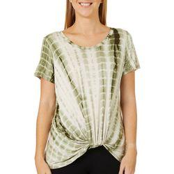 Thyme & Honey Womens Tie Dye Twist Front Short Sleeve Top