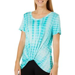 Thyme & Honey Womens Tie Dye Twist Front Short Sleeve Top