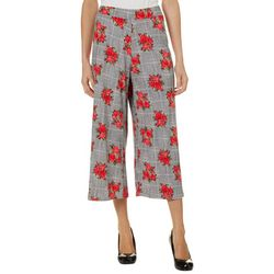 Thyme & Honey Womens Plaid Rose High Rise Pull On Capris