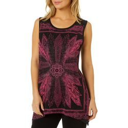 VS Collection Womens Embellished Geo Print Sleeveless Top
