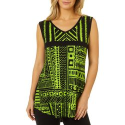 VS Collection Womens Geo Screen Print Split Back Tank Top