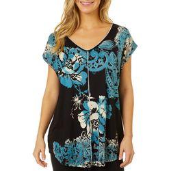VS Collection Womens Floral Paisley Print Split Back Top