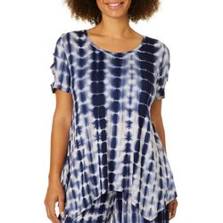 Coco's Clozet Womens Caged Tie Dye Short Sleeve Top
