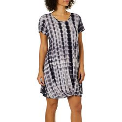 Coco's Clozet Womens Tie Dye Knotted Front Dress
