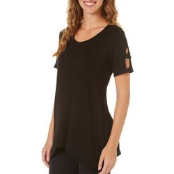 Coco's Clozet Womens Caged Solid Short Sleeve Top