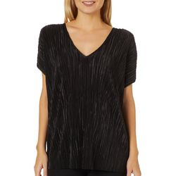 Coco's Clozet Womens Solid Textured Deep V-Neck Top