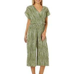 Coco's Clozet Womens Stripe Print Faux-Wrap Jumpsuit