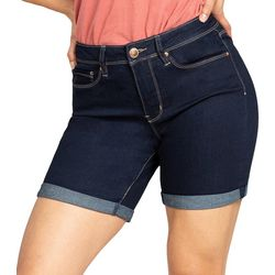 Royalty by YMI Womens Roll Cuff No Muffin Top Denim Shorts