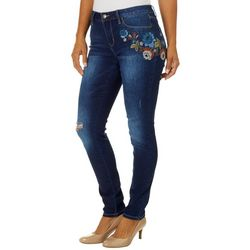 Royalty by YMI Womens Embroidered Floral Destructed Jeans