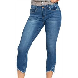 Royalty by YMI Womens Frayed Asymmetrical Hem Ankle Jeans