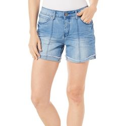 Royalty by YMI Womens Roll Cuff Frayed Hem Denim Shorts