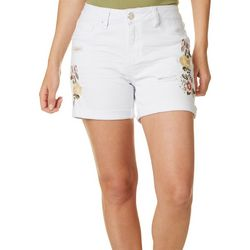 Royalty by YMI Womens Embroidered Floral Roll Cuff Shorts